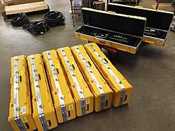 Row of Kino Flo Celeb 401 DMX LED fixin' to go ou the door.